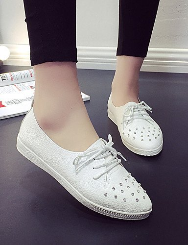 ZQ hug Scarpe Donna - Stringate - Casual - Punta arrotondata - Piatto - Finta pelle - Nero / Bianco , white-us8 / eu39 / uk6 / cn39 , white-us8 / eu39 / uk6 / cn39 white-us5.5 / eu36 / uk3.5 / cn35