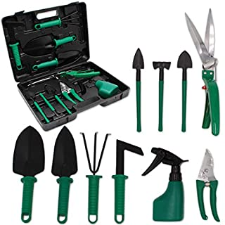 GIOVARA Garden Tool 10 Piece Set with Carry Case Includes Trowel,Transplanter,Rake,Secateurs,Grass Shears,Shovels and Water Spray Bottle