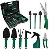 Ensemble d'outils de jardinage 10 pièces avec étui de transport comprenant transplanteuse, râteau, sécateur, cisailles à gazon, pelles et vaporisateur d'eau, ensemble-cadeau de jardin