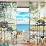 FFY Go Sheer Voile Fenster Vorhang Afrika Tiere bedrucktes Weiches Material für Schlafzimmer Wohnzimmer Küche Decor Home Tür Dekoration 2Felder 198,1x 139,7cm