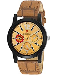 Svviss Bells Original Gold Dial Brown Leather Strap Analog Wrist Watch For Men - SB-1081