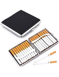 Zigarettenetui Metall Leder, 2 Stück Schwarz Zigarettenbox Etui,Tabakbox aus Leder,zigarettenetuis Leder,Zigarettenbox Etui mit Schnappverschluss und Gummiband