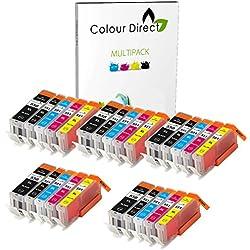 25 XL ( 5 juegos) Colour Direct Cartuchos de tinta compatibles Reemplazo Para Canon CLI-551XL/ PGI-550XL - Pixma MG5450 MG5550 MG5650 MG6350 MG6450 MG6650 MX725 MX925 MX725 MG7150 iP7250 Impresoras