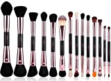 MSQ® 14pcs Make-up Pinsel Double End Rose Gold Make-up Pinsel Set Synthetische Haar Natürliche Holz Griff Kosmetik-Tools mit Corcodile PU