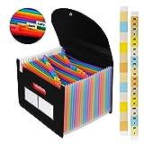Carpeta Clasificadora Archivador acordeón 24 Bolsillos de gran Capacidad soporte Extensible portátil acordeón, Multi-Color Archivador A4 buen ayudante para Office, School, Home