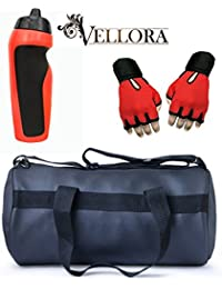 VELLORA Soft Leather Duffel Gym Bag (Black) With Penguin Sport Sipper, Gym Sipper Water Bottle Color Black Red... - B07F2MM6BP