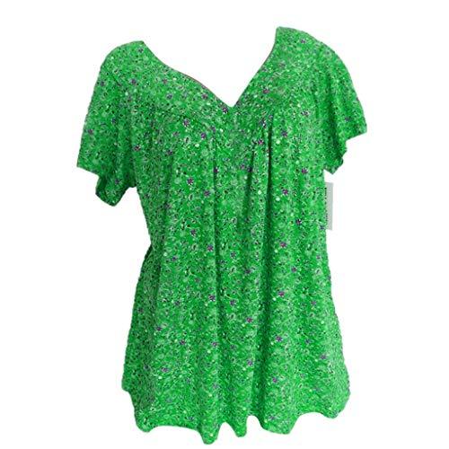 Frauen Blusen/Dorical Damen Große größe Casual Kurzarm Damenmode V-Ausschnitt Print Übergröße Drucken-Lose Tops T-Shirt Bluse Mode Damen T Shirt Kurze Ärmel Shirt S-5XL(Grün,XXX-Large)