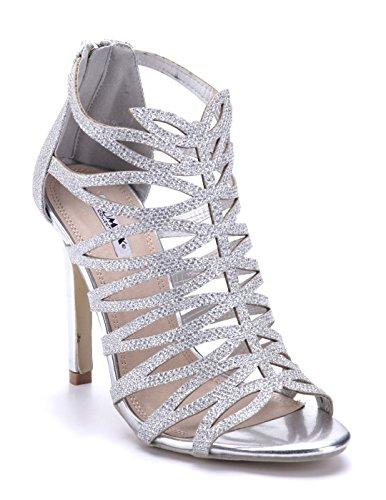 Schuhtempel24 Damen Schuhe Sandaletten Sandalen Silber Stiletto Glitzer/Cut Out 11 cm High Heels