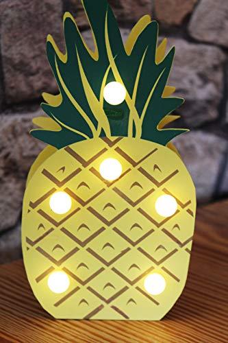 KAMACA LED Dekoleuchte ANANAS aus HOLZ mit 6 warm weißen LED - Stimmungslicht - Tischleuchte - Größe ca. 20 x 10 cm - ein bezaubernder Blickfang in jedem Raum - auch ein tolle Geschenk - Idee - Neu aus dem KAMACA-SHOP (LED ANANAS HOLZ)