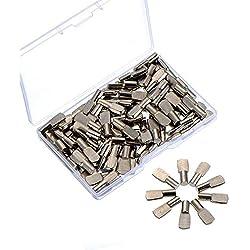 5 mm Goupilles de Support d'Étagère Goupilles d'Étagère avec une Boîte de Rangement, Style à Cuillère Plate, Couleur Argent, 100 Pièces