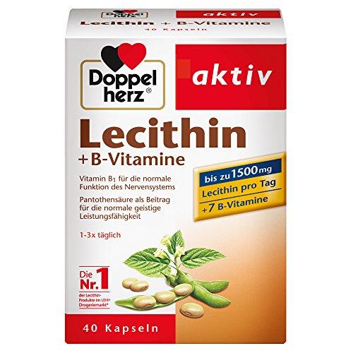 Doppelherz Lecithin – Nahrungsergänzungsmittel mit Vitamin B1, B2 und B6 als Beitrag zur normalen Funktion des Nervensystems – 1 x 40 Kapseln