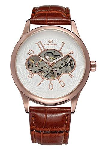 GuTe Vintage Rose de oro Mecánica mano de viento reloj de pulsera esfera blanca pu para Unisex