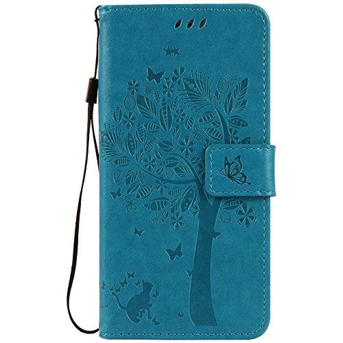 Mokyo iPhone 7 Plus/iPhone 8 Plus Hülle [mit Frei Displayschutzfolie],Folio PU Leder Brieftasche Klapphülle mit [Standfunktion][Magnetverschluss][Kartenfächer] Handyhülle Geprägt Katze und Baum Premium Muster Weich Buchstil Dünn Schale Tasche für iPhone 7 Plus/iPhone 8 Plus - Blau (Geprägte Grafiken)