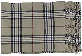 Cat Sister-classic Cashmere Feel Winter Scarf In Rich Plaids (Cream) 1