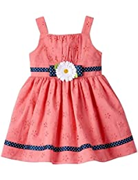 Youngland Toddler Girls Eyelet Dress, Coral (2T)