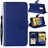 Danallc Alcatel A30 Wallet Multi Card Holder Design Shell Folio PU Leather Cover With Shell Case Compatible With Alcatel A30 - Dark Blue