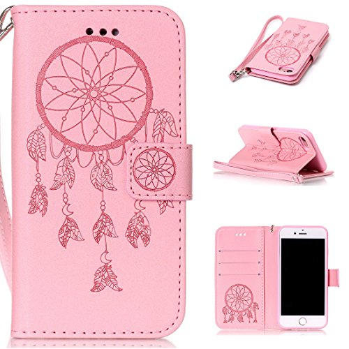 iphone 7(4.7inch) Coque,Flip Coque cover PU Cuir Housse Protection Cover pour iphone 7(4.7inch)- Stand soutien/Card Slot /fermeture magnétique-Fleur d'or Pink Dreamcather