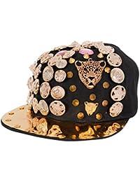 Krystle Metal Snapback Hat, Adjustable Size Spike Rivet Spiky Studs Buttons Baseball Caps Flat Brim Hats