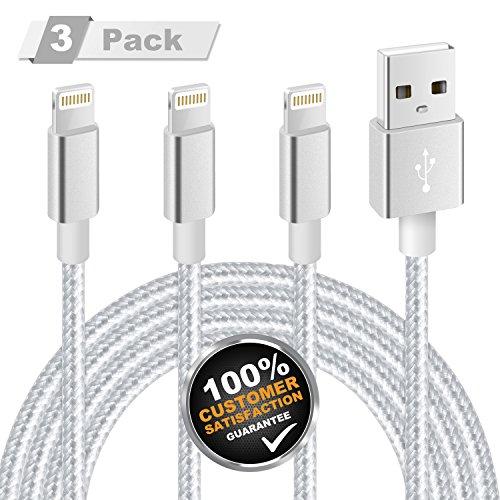 iPhone Ladekabel , MiTE Lightning Kabel [Nylon geflochten] 2m*3 für iPhone X/ 8/ 7/ 6 Plus/ 6S/ 5S/ iPad Mini , iPad Air 2/ Pro und mehr (Silbergrau)
