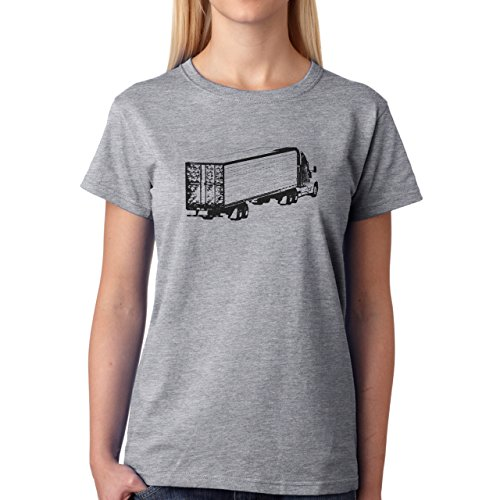 Car Vehicle Four Wheels Auto Sketch Truck White Black Damen T-Shirt Grau