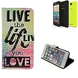 K-S-Trade Archos 50f Neon Schutz Hülle 360° Wallet Case ''live Life Love'' Schutzhülle Handy Tasche Handyhülle Etui Smartphone Flip Cover Standfunktion (1x)