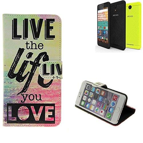 K-S-Trade® Für -Archos 50f Neon- Schutz Hülle 360° Wallet Case ''live Life Love'' Schutzhülle Handy Tasche Handyhülle Etui Smartphone Flip Cover Standfunktion (1x)