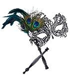 Masque de Mascarade sur le Bâton noir Masque de Costume Costume d'Halloween Pour les Femmes (Black with stick)
