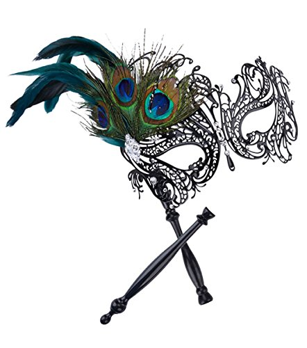 Kapmore Máscara de mascarada en negro Stick traje de Halloween máscara de metal para las mujeres