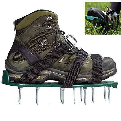 NGwenyicanI Robuste vormontierte Rasenbelüfterschuhe mit Metallschnallen und 3 Riemen, strapazierfähige Sandalen für Belüftung von Rasen oder Hof.