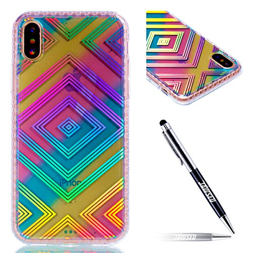 iPhone X Custodia, iPhone X Custodia, iPhone X Cover Silicone, JAWSEU Bella Luminoso [Shock-Absorption][Anti Scratch] Protectiva Bumper per iPhone X Cristallo Chiaro Cover Case Caso Ultra Sottile Legg Colorato Diamond Lattice