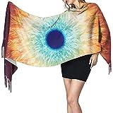 Elaine-Shop Sciarpa coperta lunga da donna Eyes in muratura, scialli nappa moda avvolge sciarpa, morbida sensazione di cashmere
