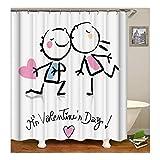Beydodo Badvorhang Vintage 180X200 Lieber Valentine's Day 3D Duschvorhang Antischimmel