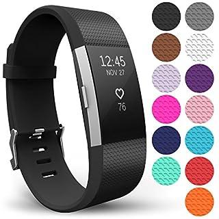 Yousave Accessories® Fitbit Charge 2 Armband, Ersatz Fitness Armband und Uhrenarmband - Silikon Sportarmband und Fitnessband - Wristband Armbänder für Fitbit Charge2 Schrittzähler - Groß, Schwarz