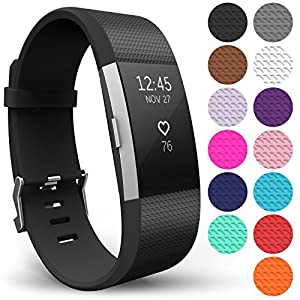 Yousave Accessories FitBit Charge 2 Strap Band - Replacement Silicone Sport Wristband for the FitBit Charge 2 – One to Ten Packs and (Large - Single Pack, Black)