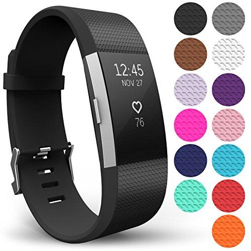 Yousave Accessories® Armband für Fitbit Charge 2, Ersatz Fitness Armband und Uhrenarmband, Silikon Sportarmband und Fitnessband, Wristband Armbänder für Fitbit Charge2 - Groß, Schwarz