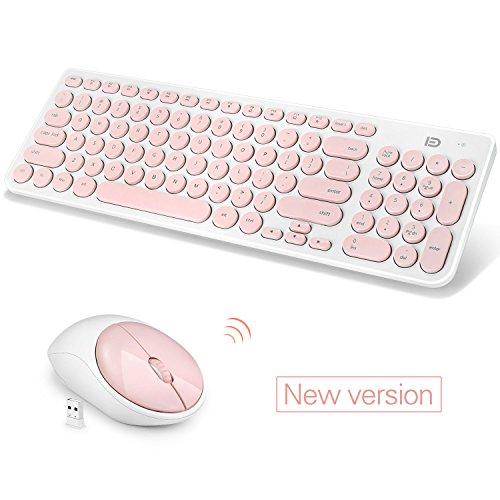 Wireless Keyboard und Maus Combo, FD iK6630 Mode Sommer Tastatur und Maus Set (Lachs Pink & White)