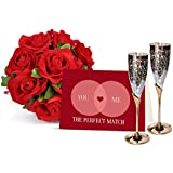 TIED RIBBONS Gifts for Husband Handmade Engraved Silver Plated Brass Goblet Wine Glass Set with Greeting Card and Rose Bunch
