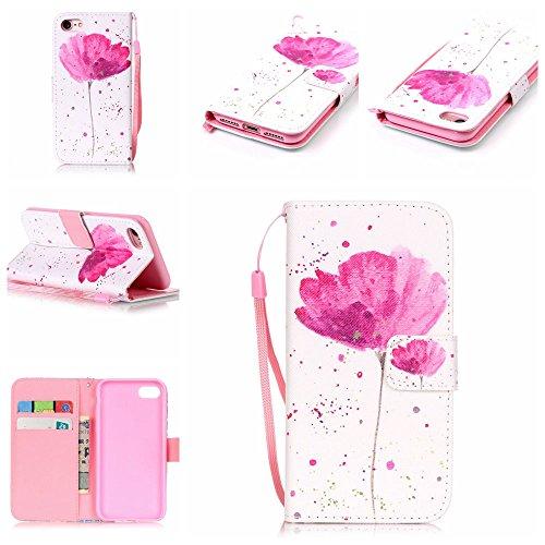 """Rose Fille Style Cuir Portefeuille Coque pour Apple iphone 7 4.7"""", Élégant iPhone 7 étui Rabat Style, Case iPhone 7, Joli Image Imprimé - Mandala Rose-12"""