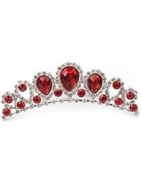 Peigne à Cheveux Épingle Bijoux Rouge Strass Cristal Couronne Mariage Mariée