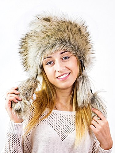 Futrzane Mongolian Faux Fox Fur Winter Hat Women Trapper Russian Cossack