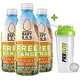 Eazy Egg by Dr Zaks Free Range Liquid Egg Whites 3 x 970ml Bottle Eggs Protein + PROELITE Shaker