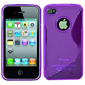 PURPLE S LINE GEL SILICONE RUBBER CASE COVER IPHONE 4 4S