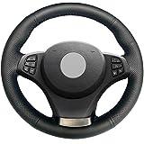 JIANGJUNCHE Per coprivolante Nero Cucito a Mano Fai da Te per BMW E83 X3 2003 2010 E53 X5 2004 2006,Black