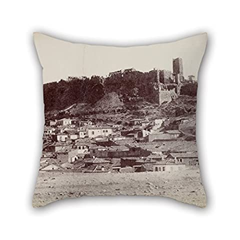 Loveloveu Oil Painting Normand Alfred Nicolas - The Northwest Side Of The Acropolis And The Surrounding Area Throw Pillow Case ,best For Father,birthday,outdoor,teens,son,dining Room 18 X 18