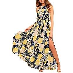 Vestidos Mujer Verano 2018,Mujeres sexy estampado floral ajustable sin mangas de encaje-up Split Maxi vestido largo LMMVP (Amarillo, XXL)