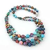 Howlith 3 Reihig Reihen gemischte Farben Halskette Kette Bunt