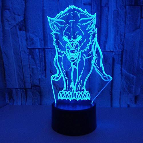 Hungrig Heftigen Wolf 3D Lampe Led Nachtlicht Für Schlafzimmer Dekoration 7 Farben Lampe Veränderbar Kinder Kreative Geschenke Fernbedienung -