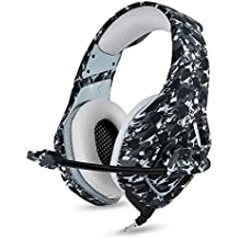 BINZI PC Camo Gaming Headset For PS4 XBOX One 3.5mm Stereo USB LED Headphones With Omnidirectional Microphone Volume Control For Computer Laptop Mac PlayStation 4 - OnK1 (grey)