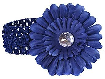 Crocheted Hairband With Large Daisy Flower For Baby Girl Woman - Navy