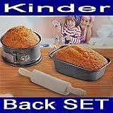 Kinder Backform SET 3 tlg.,Teigrolle,2 x Back Spring Kasten Kuchen Torten Formen (LHS)